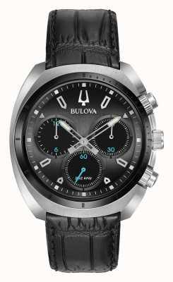 Bulova | curv | mens | chronograaf | zwarte leren riem | 98A155