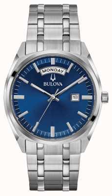 Bulova Heren klassieke roestvrijstalen armband blauwe wijzerplaat 96C125
