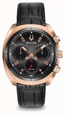 Bulova Heren sportkromme chronograaf zwart leer 98A156
