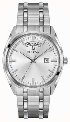 Bulova Mens klassieke roestvrijstalen armband zilveren wijzerplaat 96C127