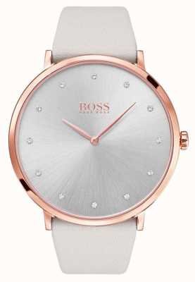 Hugo Boss Womans jilliaanse roosgoud vergulde case grijs leer 1502412