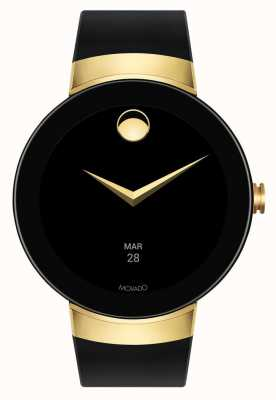 Movado Sluit goudkleurige zwarte siliconen armband smartwatch aan 3660014