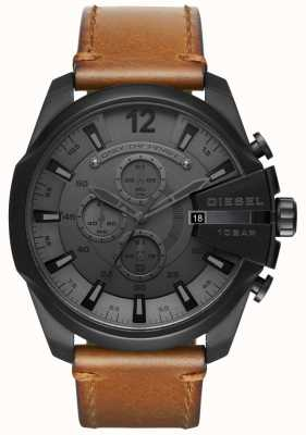 Diesel Mens mega chief horloge zwarte wijzerplaat bruine lederen band DZ4463