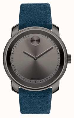 Movado Unisex grote dikke grijze ijzeren blauwe suede 3600454