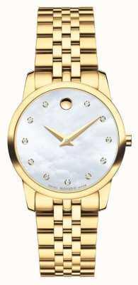 Movado Womans museum diamant gouden toon horloge 0606998