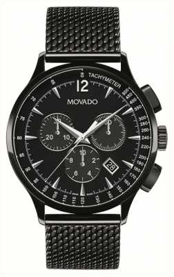 Movado Mannen circa chronograaf zwart ion geplateerd 0606804