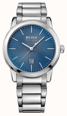 Hugo Boss Heren klassieke roestvrijstalen armband blauw 1513402