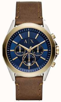 Armani Exchange Mannen blauwe chronograaf bruine lederen riem AX2612