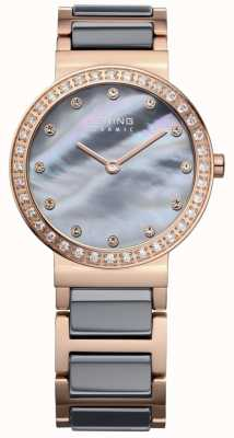 Bering Womans high-tech keramische roos vergulde staal 10729-769