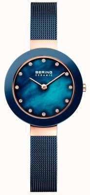 Bering Womans keramische blauwe milanese band 11429-367