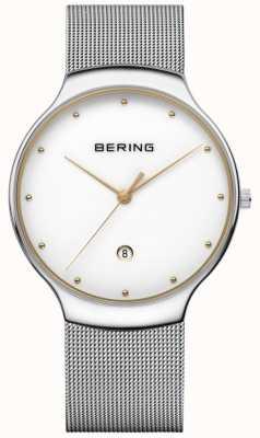 Bering Mens klassieke date zilveren milanese band 13338-001