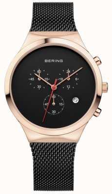Bering Heren klassieke zwarte chronograaf zwarte milanese band 14736-166