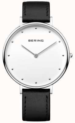 Bering Unisex klassieke zwarte lederen riem horloge 14839-404