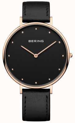 Bering Womans klassieke zwarte lederen riem horloge 14839-462
