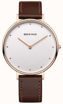 Bering Womans klassieke bruine lederen riem horloge 14839-564