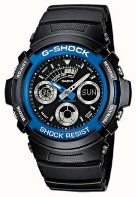 Casio Mens g-shock alarm chrono rubber band blauw AW-591-2AER