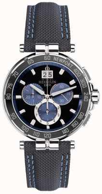 Michel Herbelin Mens newport jachtclub, zwart, blauw 36656/AN65