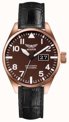 Aviator Mens airacobra p42 zwart leren band bruine wijzerplaat V.1.22.2.151.4