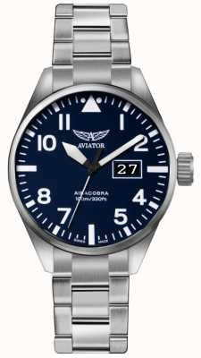 Aviator Mens airacobra p42 roestvrij staal stalen armband blauw wijzerplaat V.1.22.0.149.5