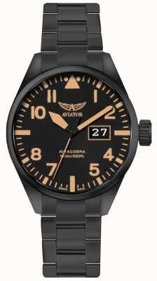 Aviator Mens airacobra p42 zwart pvd vergulde armband zwarte wijzerplaat V.1.22.5.157.5