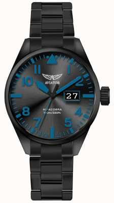 Aviator Mens airacobra p42 zwart pvd vergulde armband zwarte wijzerplaat V.1.22.5.188.5
