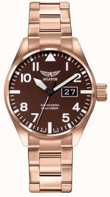 Aviator Mens airacobra p42 bruin pvd geplateerde armband bruine wijzerplaat V.1.22.2.151.5