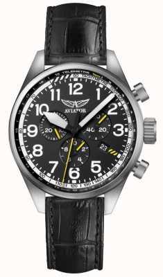 Aviator Mens airacobra p45 chrono zwart lederen riem zwarte wijzerplaat V.2.25.0.169.4