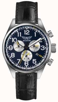 Aviator Mens airacobra p45 chrono zwart lederen riem blauwe wijzerplaat V.2.25.0.170.4