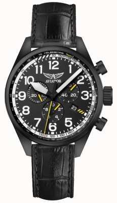 Aviator Mens airacobra p45 chrono zwart lederen riem zwarte wijzerplaat V.2.25.5.169.4