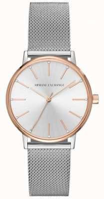 Armani Exchange Womans roestvrij staal mesh armband jurk horloge AX5537