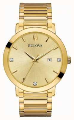 Bulova Mens diamant set gouden toon horloge 97D115