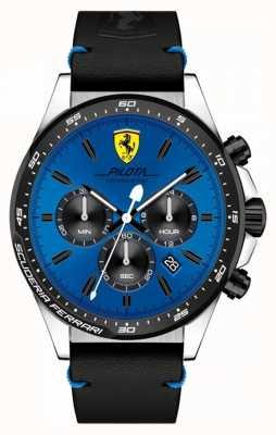 Scuderia Ferrari Heren pilota blauwe chronograaf wijzerplaathorloge 0830388