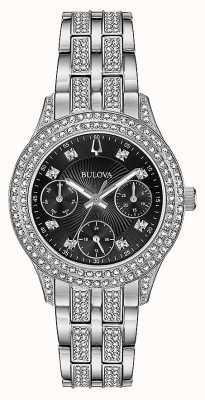 Bulova Vrouwen kristal zwart chronograaf horloge 96N110