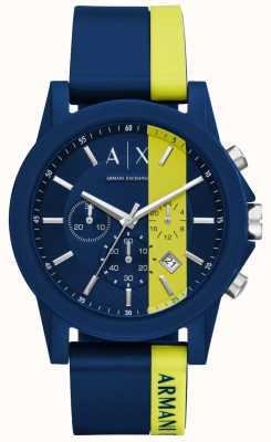 Armani Exchange Heren blauwe streep siliconen chronograaf AX1332