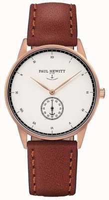 Paul Hewitt Unisex handtekening bruine lederen band PH-M1-R-W-1M