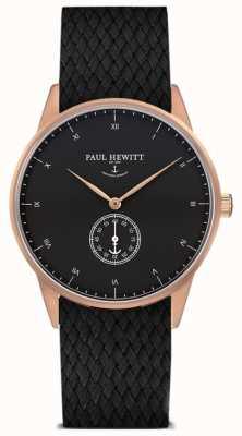 Paul Hewitt Unisex handtekening zwart leder gevlochten riem PH-M1-R-B-21M
