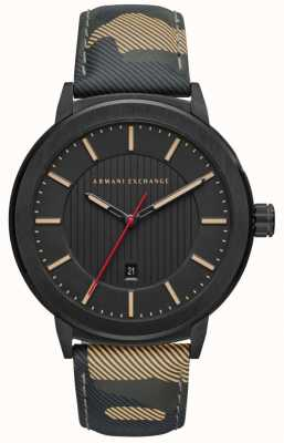 Armani Exchange Mens camo band zwart wijzerplaat horloge AX1460