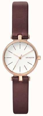 Skagen Vrouwen signatuur bruin leder petit horloge SKW2641