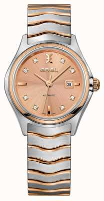 EBEL Womens wave diamond set tweekleurig roségouden horloge 1216328
