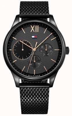 Tommy Hilfiger Mens damon black ip mesh horloge 1791420