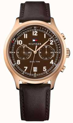 Tommy Hilfiger Mens emerson bruin lederen riem horloge 1791387