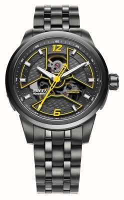 FIYTA Mens zwart ip horloge met gele acents GA866000.BBB