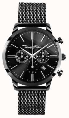 Thomas Sabo Mens zwart roestvrij staal chrono horloge WA0291-287-203-42