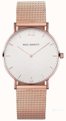 Paul Hewitt Unisex sailor 39mm roségouden mesh armband PH-SA-R-ST-W-4M