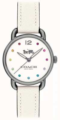 Coach Womans delancey horloge witte leren riem 14502915