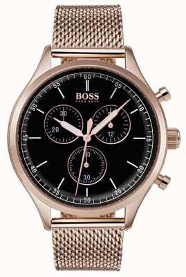 Hugo Boss Heren metgezel chronograaf rose goudkleurige mesh armband 1513548