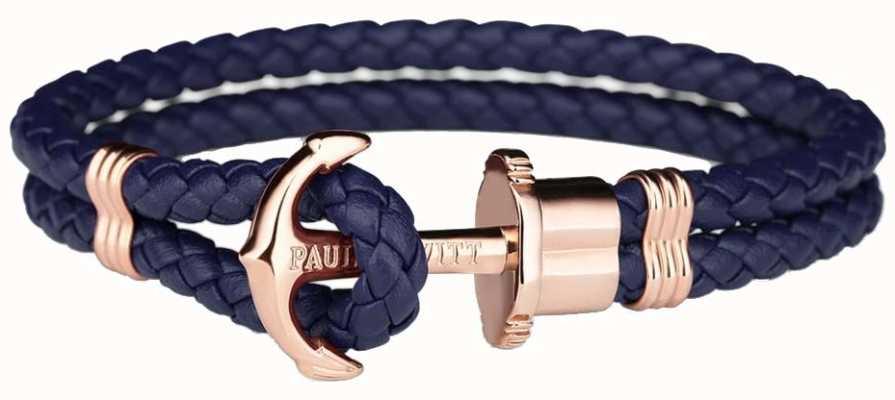 Paul Hewitt Jewellery Phrep rose goud anker navy lederen armband medium PH-PH-L-R-N-M