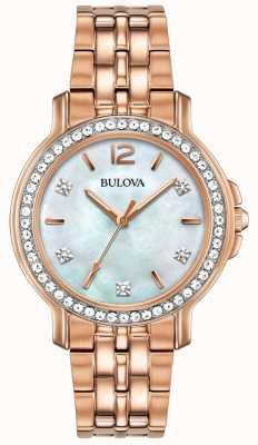 Bulova Womans rose gouden toon kristal horloge 98L243