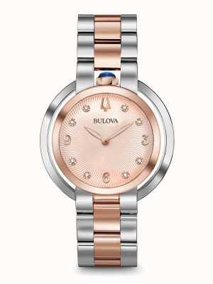 Bulova Vrouwen rubaiyat twee toon roos goud horloge 98P174