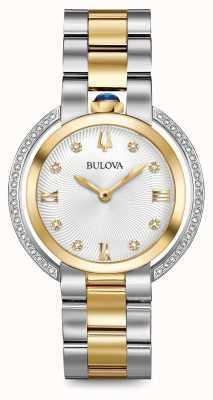 Bulova Womans rubaiyat twee toon diamant horloge 98R246